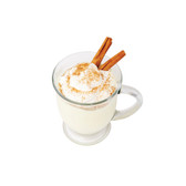 Egg Nog Flavor Very true to a heavily spiced glass of fresh egg nog, this flavor lays the taste and aroma of fresh-grated nutmeg over a smooth milk base.  Ingredients: Artificial Flavors, PG  water soluble