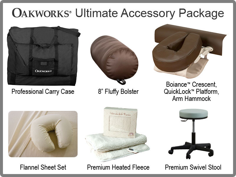 Oakworks Ultimate Massage Table Package with Carry Case, Face Rest Platform, Face Rest Crescent, Bolster, Arm Hammock, Flannel Sheets, Heated Fleece