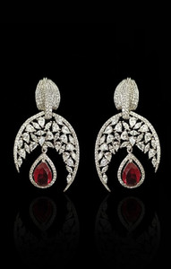 Gorgeous rodhium plated american zircons earrings with semi precious stones