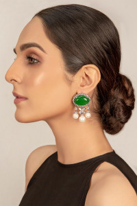 Designer Earring Green with Zircon
