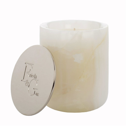 White Onyx Candle by Frieda and Gus Rose Gold Lid