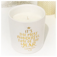 Christmas Satin Ceramic Large WHITE Yuletide Scent