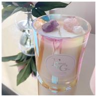 CRYSTAL Candle Rose Quartz & Amethyst