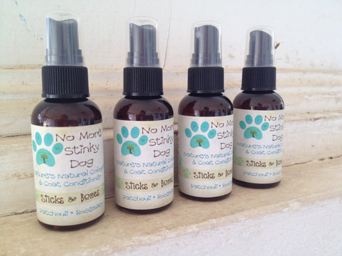 No More Stinky Dog Natural Cologne and Coat Conditioner Sticks & Bones Patchouli Rosemary