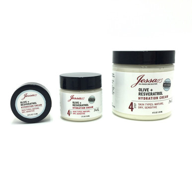 Facial Moisturizer Resveratrol Olive.  Hydrating Moisturizer Dry Skin. Professional Skincare Product Line.