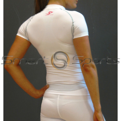 Take 5 Womens Compression Short Sleeve White Top | Spandex Gym Shirt