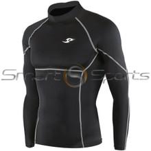 Take 5 Cheap Mens Long Sleeve Compression Top Panel Black