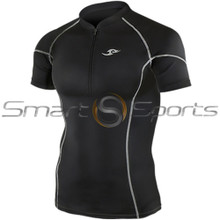 Take 5 Cheap Mens Short Sleeve Compression Zip Top Black