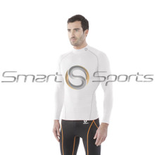 Tesla Mens Compression Top Long Sleeve Turtle Neck White Silver