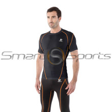 Mens Compression Top Short Sleeve Round Neck Premium Black Orange