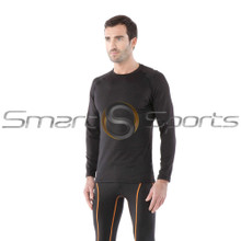 Mens Compression Top Long Sleeve Round Neck Loose Fit Black Tesla
