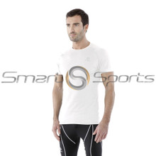 Mens Compression Top Short Sleeve Cool Gear Loose Fit White Tesla