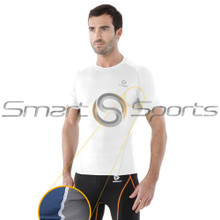 Mens Compression Top Short Sleeve Mesh Round White Tesla