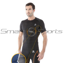 Mens Compression Top Short Sleeve Mesh Round Black Tesla