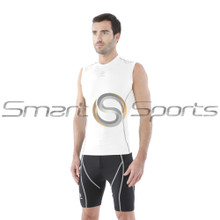Mens Compression Top Sleeveless Round Neck White Silver Tesla