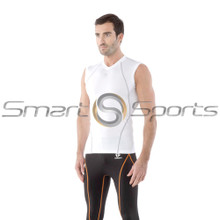 Mens Compression Top Sleeveless V-Neck White Silver Tesla