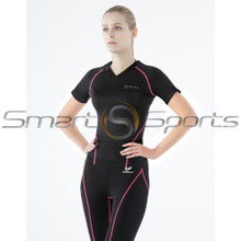 Womens Compression Top Short Sleeve V-Neck Black Pink Tesla