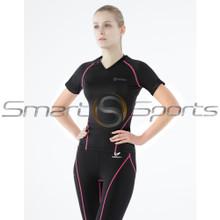 Womens Compression Top Short Sleeve V-Neck Black Pink Tesla