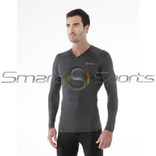 Mens Compression Top Long Sleeve V-Neck Grey Tesla