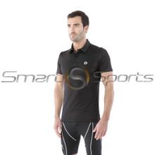 Mens Compression Top Short Sleeve Polo Shirts Black Tesla