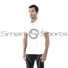Mens Compression Top Short Sleeve Polo Shirts White Tesla