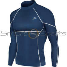 Mens Compression Top Long Sleeve Panel Navy Take 5