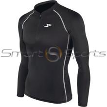Mens Compression Top Long Sleeve Zip Black Take 5