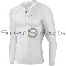 Mens Compression Top Long Sleeve Zip White Take 5