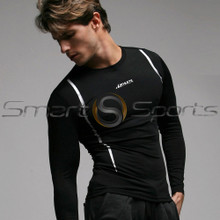 Mens Compression Top Black Lightweight Long Sleeve Athlete BX