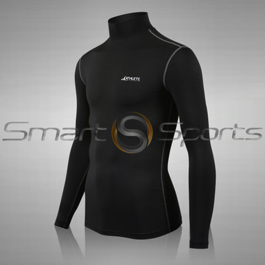 Mens Compression Top Long Sleeve Turtle Neck Plain Black Athlete BX