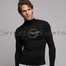 Mens Compression Top Long Sleeve Turtle Neck Plain Black Athlete BX