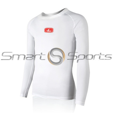 Mens Compression Top Long Sleeve Mesh Lightweight  White Athlete MX