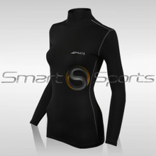Womens Compression Top Long Sleeve Turtle Neck Black Athlete BX