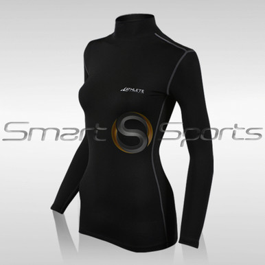 Womens Compression Top Long Sleeve Thermal Turtle Neck Black Plain Athlete TX