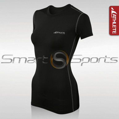 Womens Compression Top Short Sleeve Lightweight Black Athlete BX