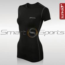 Womens Compression Top Short Sleeve Lightweight Black Athlete BX