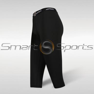 Womens Compression Tights 3/4 Capri Pants Lightweight Black Athlete BX