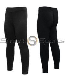 Kids Compression Tights Long Pants Lightweight Black Athlete BX