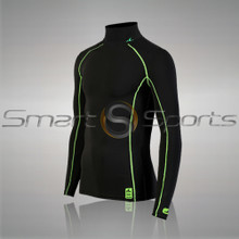 Mens Compression Top Long Sleeve Thermal Lightweight Black Green Turtle Neck Athlete TX