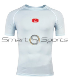 Mens Compression Top Short Sleeve Round Neck Mesh Lightweight White Athlete