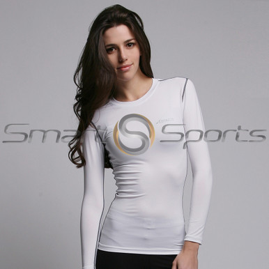Womens Compression Top Long Sleeve Lightweight White Athlete BX