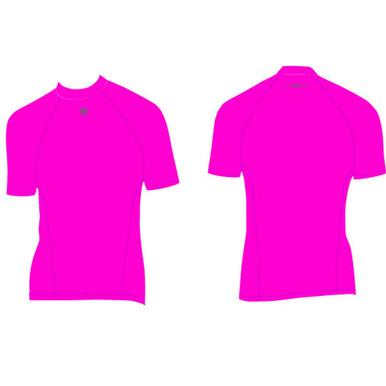 Womens Surf Life Saving Rash Vest Top Short Sleeve Pink Smart Sports