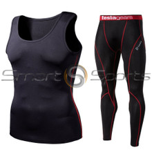 Sleeveless Compression Top & Pants Black Red 2 Pack SET | Tesla