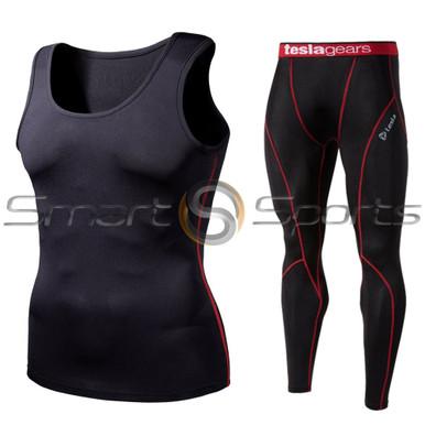 Sleeveless Compression Top & Pants Black Red 2 Pack SET | Tesla