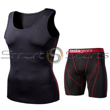 Sleeveless Compression Top & Shorts Black Red 2 Pack SET | Tesla