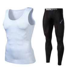 Sleeveless Compression Top & Pants White Black 2 Pack SET | Tesla