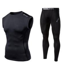 Sleeveless Compression Top & Pants Black  2 Pack SET | Tesla