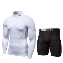 Turtle Neck Long Sleeve Compression Top & Shorts White Black 2 Pack SET | Tesla