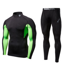 Turtle Neck Long Sleeve Mesh Compression Top & Pants Black 2 Pack SET | Tesla