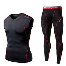V Neck Sleeveless  Compression Top & Pants Black Red 2 Pack SET | Tesla